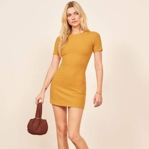 Reformation kendy yellow ribbed mini dress